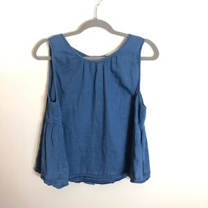 Madewell chambray button back tank top